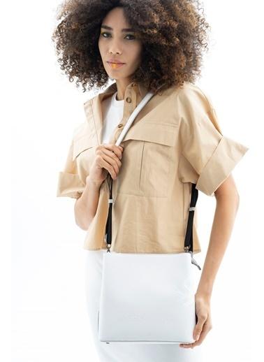 Benetton BNY0010338-037-D Kadın Kol Çantası Sarı Beyaz